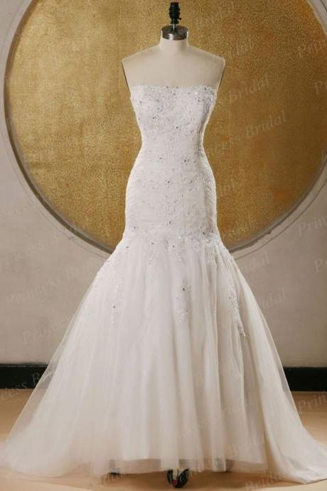 Wedding Dress Wedding Dress 2016 Wedding Gowns Robe De Mariage Tulle Appliques Beading Mermaid Wedding Dress